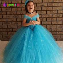 Load image into Gallery viewer, Girls Blue Glitter Princess Tutu Dress Elsa Inspired Kids Rhinestone Wedding TUTU Ball Gown Children Prom Birthday Party Dress