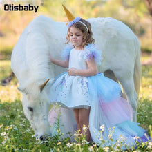 Load image into Gallery viewer, Christmas Fluffy Girl Princess Unicorn Dress Gorgeous Backless Long Tail Wedding Dress Kids  Halloween Unicorn Cosplay Costume