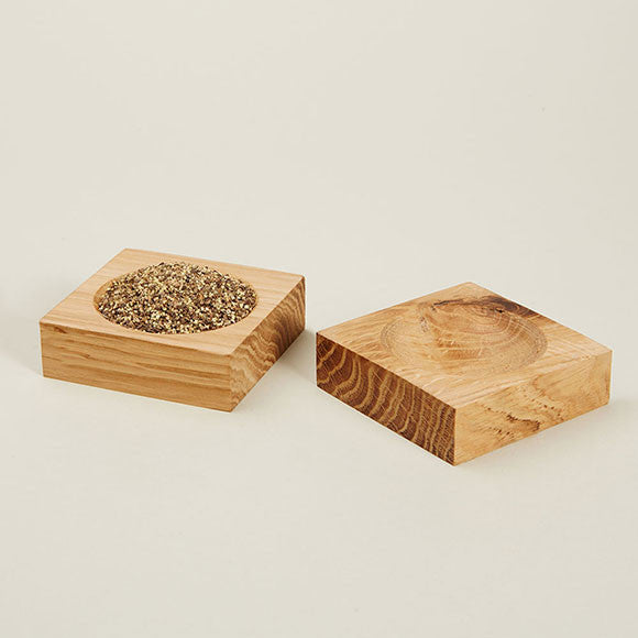 Solid Oak Salt & Pepper Bowls
