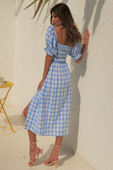 Brynne Midi Dress — Blue Check