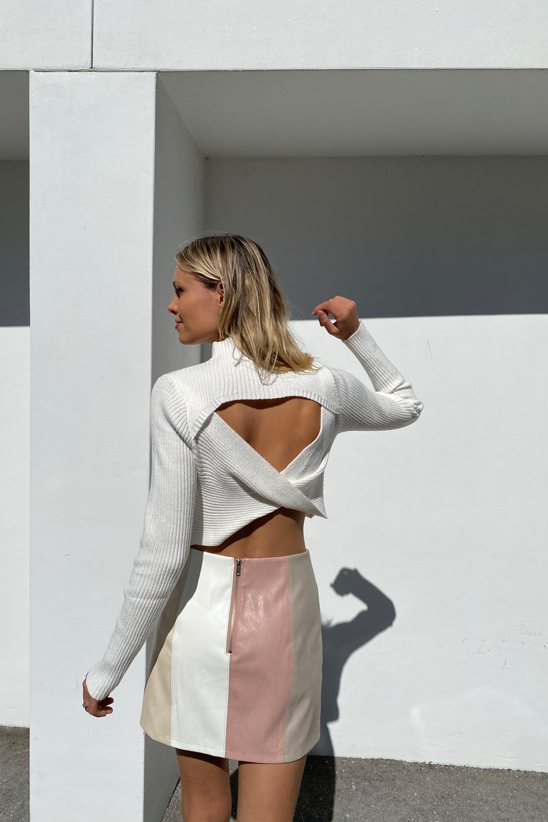 Hannah Reversible Sweater — White