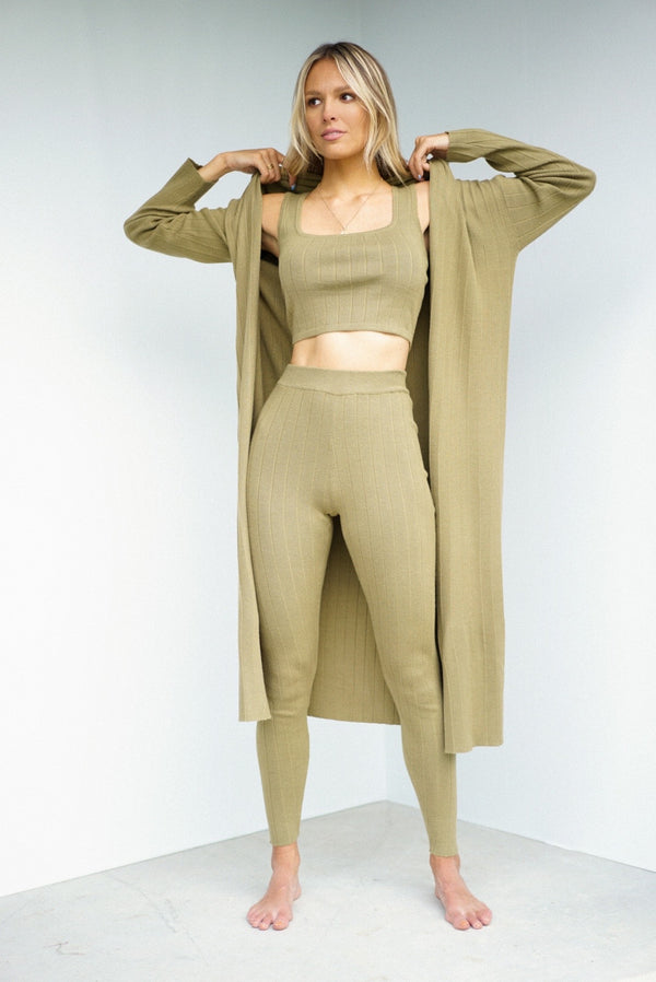 Theresa Three Piece Knit Set — Olive