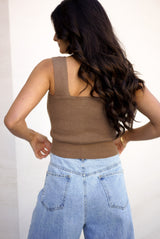 Square Up Knit Top — Chestnut