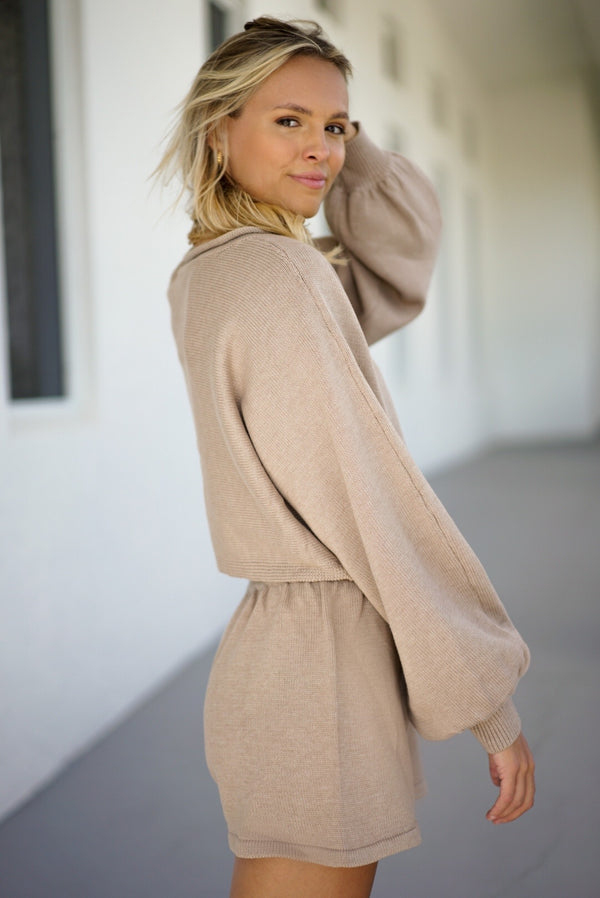Adeline Knit Shorts — Taupe