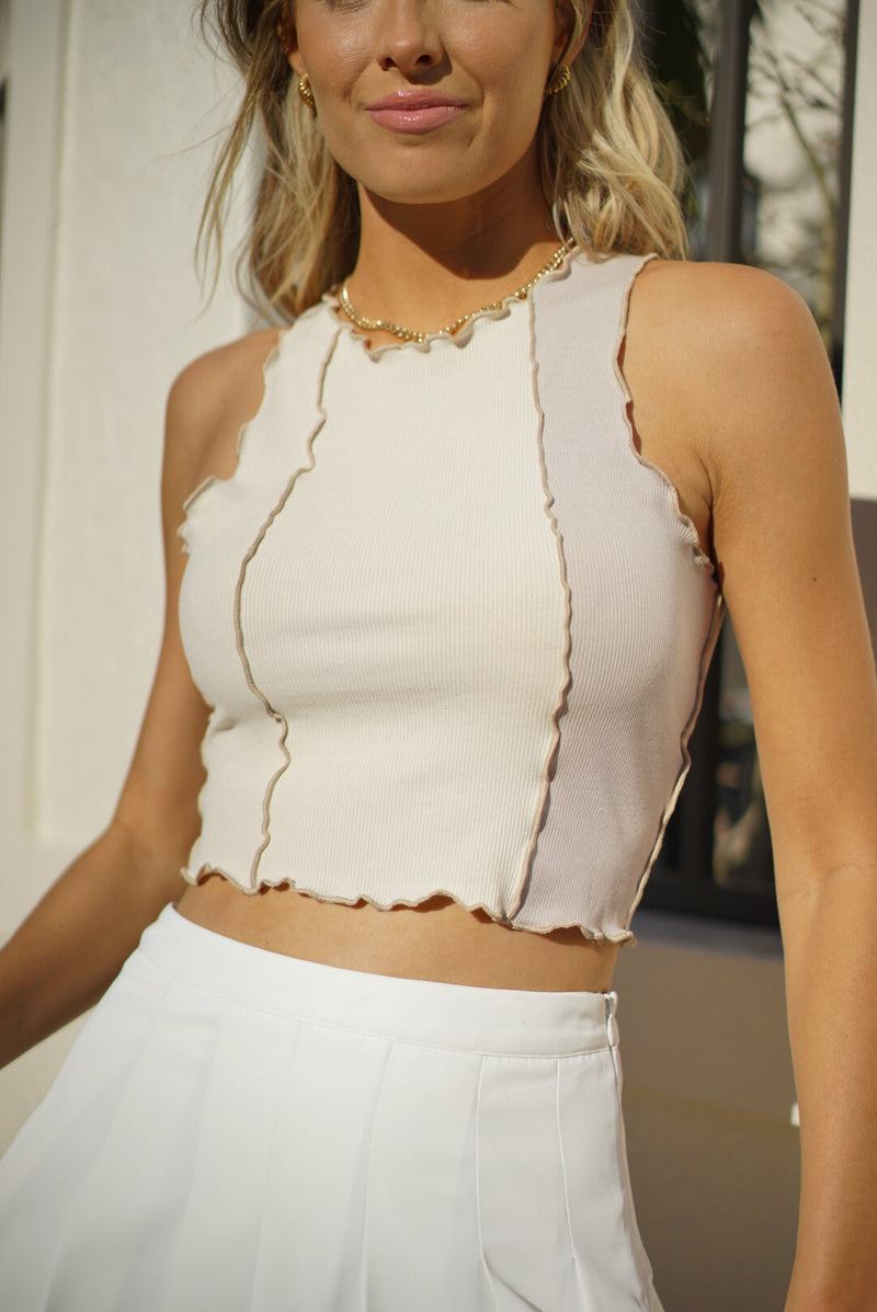 Nicole Exposed Seam Top — Nude