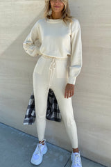 Sugar Stretch Knit Set — Cream