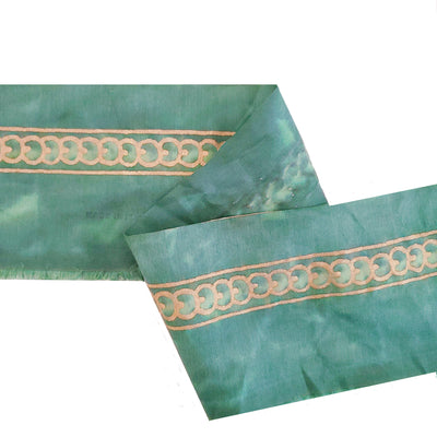 Fortuny Piumette Border in Teal and Silvery Gold