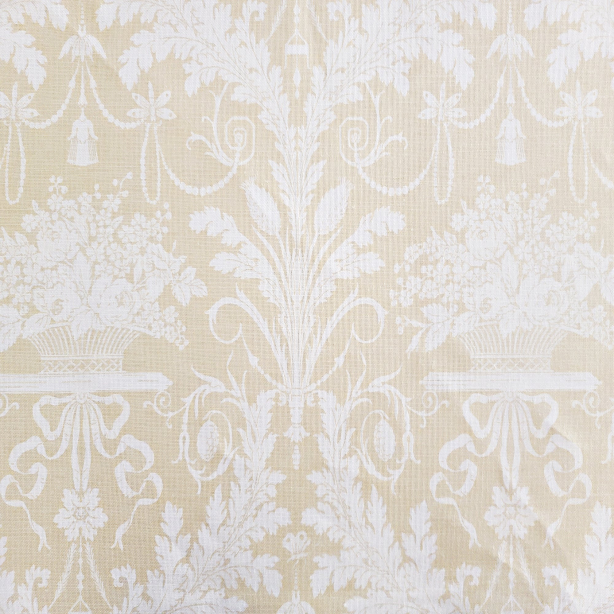 Schumacher Clairemont Damask in Yellow and Off White Designer Fabric