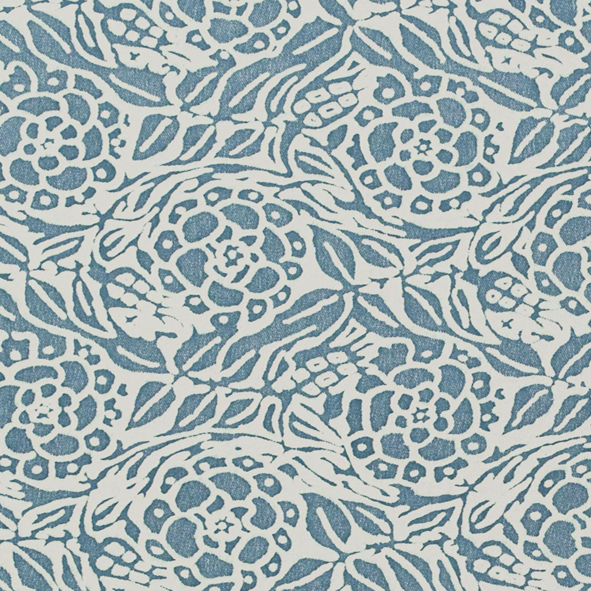 Fortuny Fiori in Storm Blue and Ivory by the yard