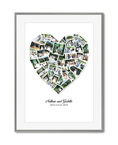 Classic Wedding, Anniversary or  Honeymoon Heart Photo Collage