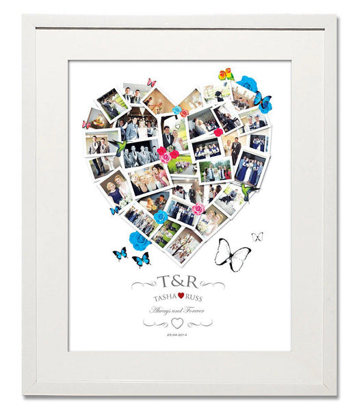 Lovebirds & Roses, Wedding, Honeymoon & Anniversary Heart Collage - Treasure on the Wall - 1