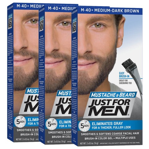 Just for men colur gel for beards, moustaches and sideburns - medium dark brown m40