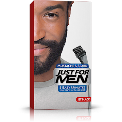 Just for men m60 mustache & beard brush-in color net jet black