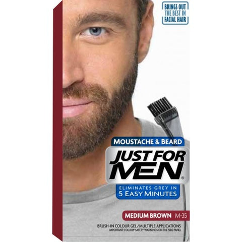 Just for men m35 beard brush-in color gel, medium brown