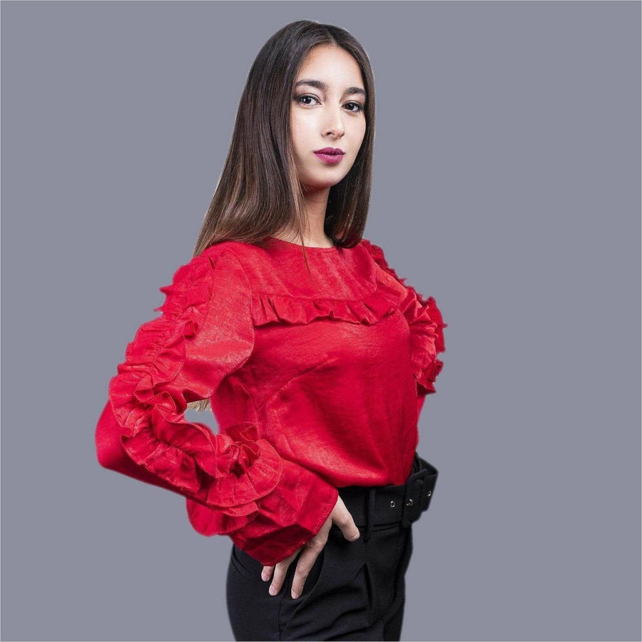 chemisier jabot volants en couleur rouge - Mademoiselle Trendy
