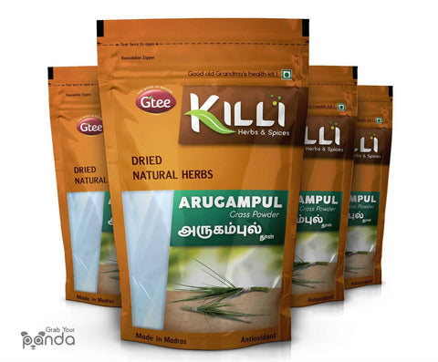 KILLI Bermuda | Arugampul | Cynodon dactylon | Doob Grass Powder, 100g (Pack of 4)