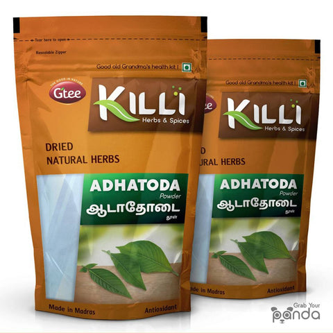 KILLI Adhatoda Vasica | Aadathodai | Adusa | Vasaka | Adalodakam | Adusoge Leaves Powder, 100g (Pack of 2)
