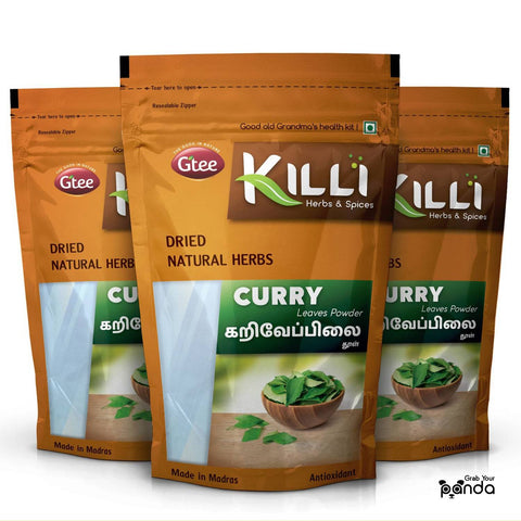 KILLI Curry | Kariveppilai | Karivepaku | Karibevu Leaves Powder, 100g (Pack of 3)