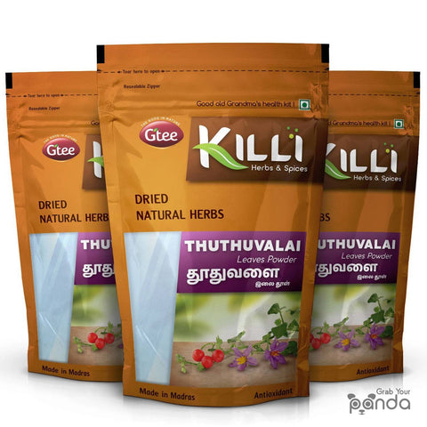 KILLI Thuthuvalai | Climbing Brinjal | Solanum trilobatum | Kantakari Leaves Powder, 100g (Pack of 3)