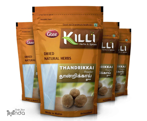 KILLI Bibhitaki | Thandrikkai | Beleric | Terminalia belerica | Baheda Powder, 100g (Pack of 4)