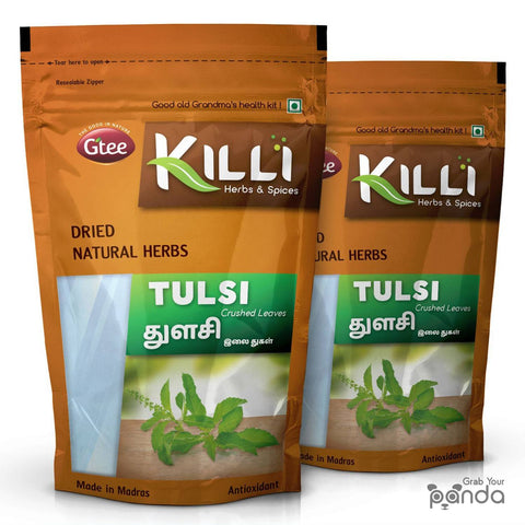 KILLI Tulsi | Holy Basil | Thulasi Leaves Crushed, 100g (Pack of 2)