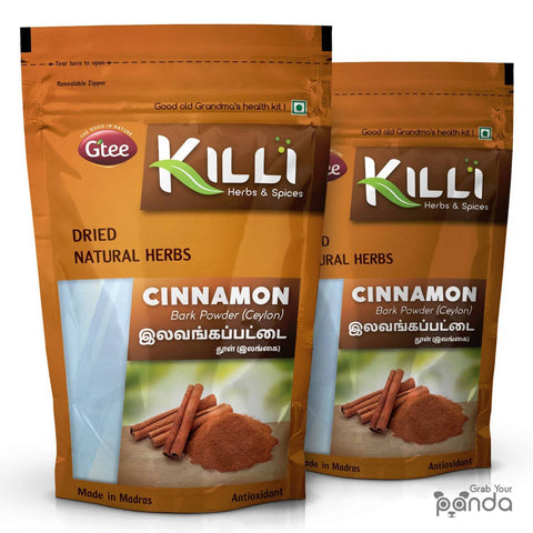 KILLI Ceylon Cinnamon | Lavanga Pattai | Dalchini Bark Powder, 100g (Pack of 2)