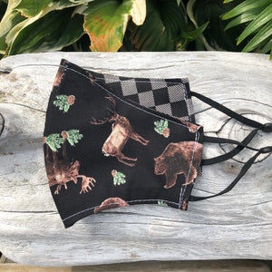 XL Face Mask {REVERSIBLE} - Wildlife/Check