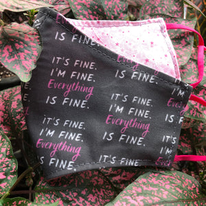 LG Face Mask {REVERSIBLE} - Everything is Fine/Pink Stars