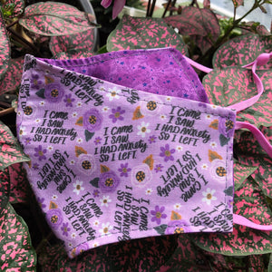LG Face Mask {REVERSIBLE} - I Came, I Saw.../Purple Stars