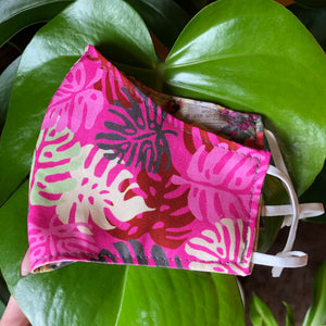 LG Face Mask {REVERSIBLE} - Pink Monstera/Honeycomb