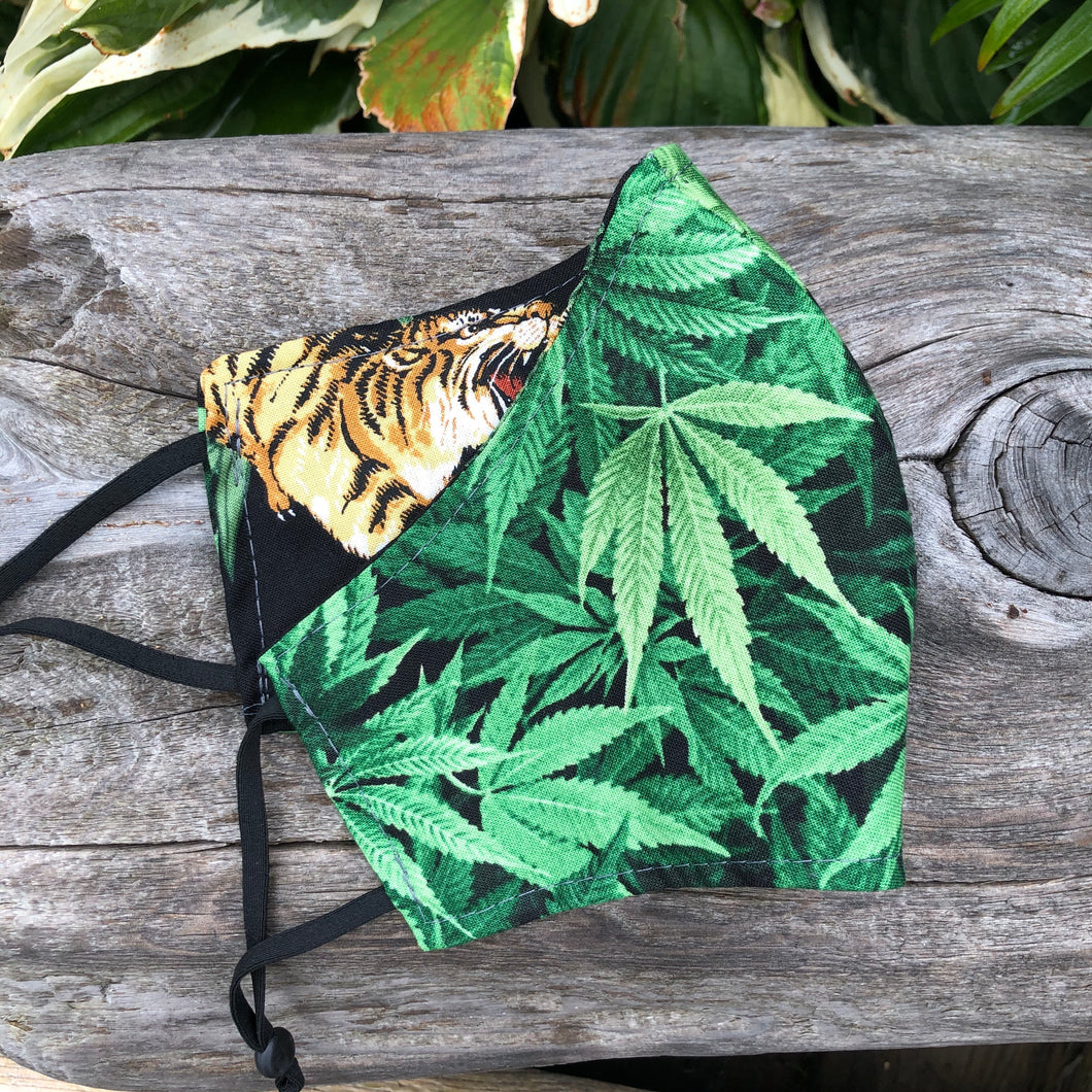 XL Face Mask {REVERSIBLE} - Cannabis/Tigers