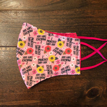 "Load image into Gallery viewer, LG Face Mask {REVERSIBLE} - Practice Safe Six///Pink ""Glitter"""