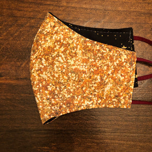 LG Face Mask {REVERSIBLE} - Gold Sparkle///Gold Stars