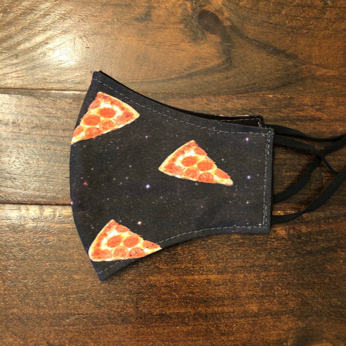 LG Face Mask {REVERSIBLE} - Galaxy Pizza/Black