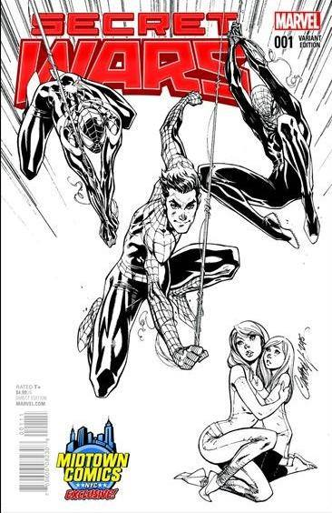 SECRET WARS #1 - MIDTOWN EXCLUSIVE CAMPBELL B&W VARIANT MARVEL | 2015 MID