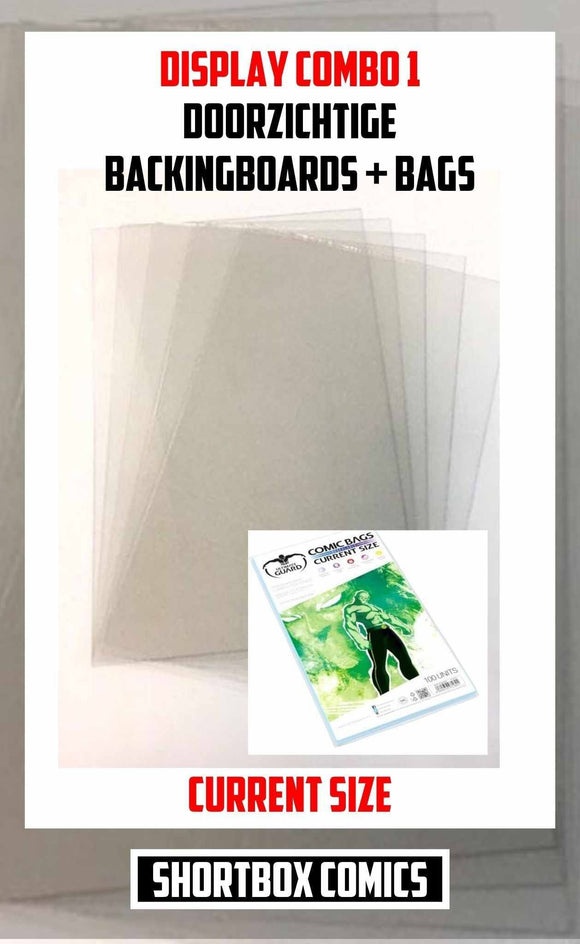 Display Combo 1: Doorzichtige Boards + Bags | current size | 5, 10 of 25 stuks-Shortbox Comics