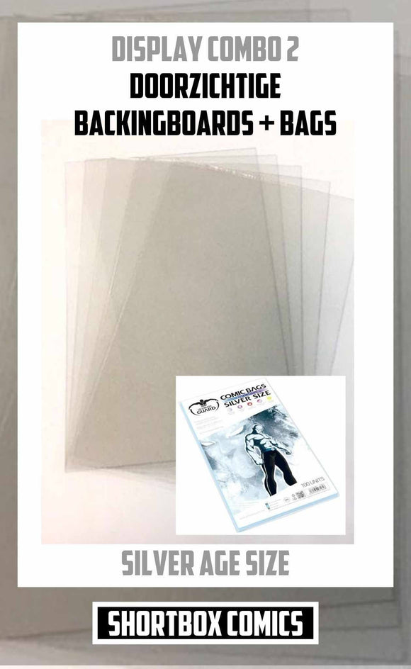 Display Combo 2: Doorzichtige Boards + Bags | silver age size | 5, 10 of 25 stuks-Shortbox Comics
