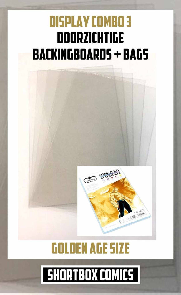Display Combo 3: Doorzichtige Boards + Bags | golden age size | 5, 10 of 25 stuks-Shortbox Comics