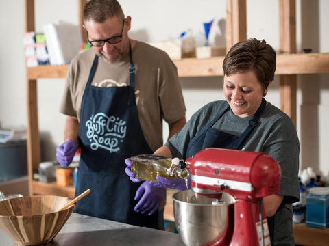 Brad and Jen, Buff City Soap Founders, making their iconic soap.