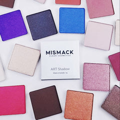 Sustainable, high pigmented professional eye shadows made in Canada.  Mismack Cosmetics