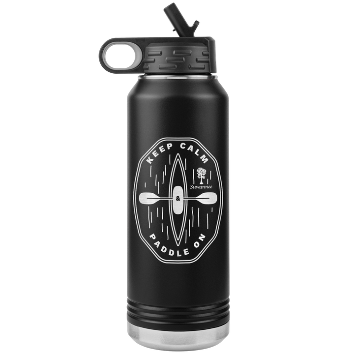 Keep Calm Kayak - Engraved Stainless Steel Water Bottle 32 oz Vacuum Insulated