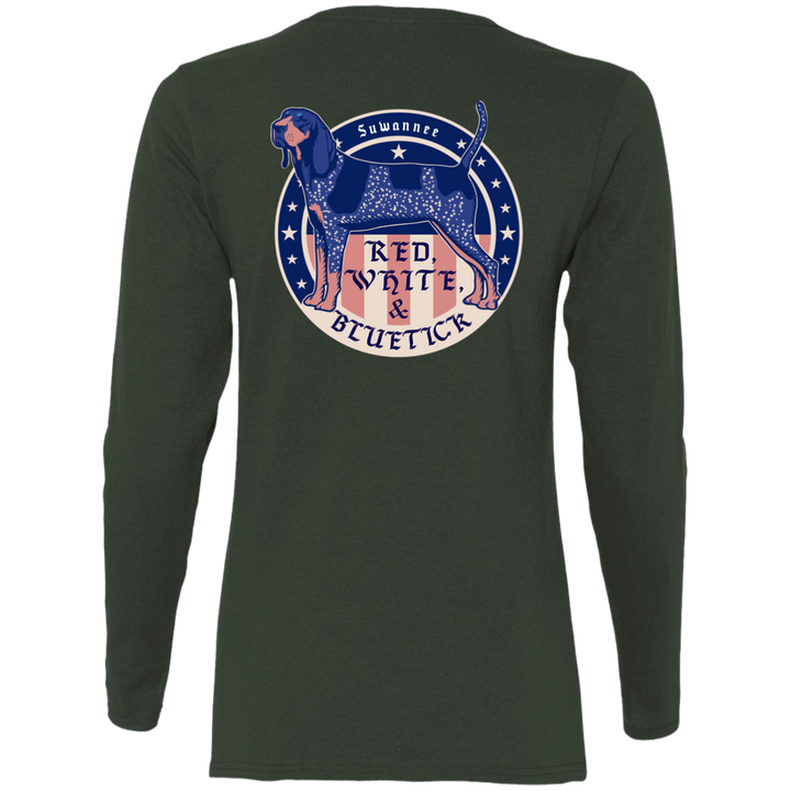 Red White & Bluetick 02 - Womens Flag Tshirt - LS - Suwannee™