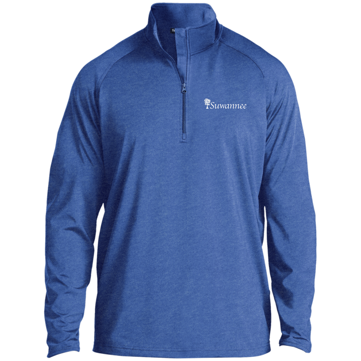 Royal Heather Mens 1/2 Zip Performance Pullover with Suwannee Brand Sportswear Cypress Tree Logo on left shoulder