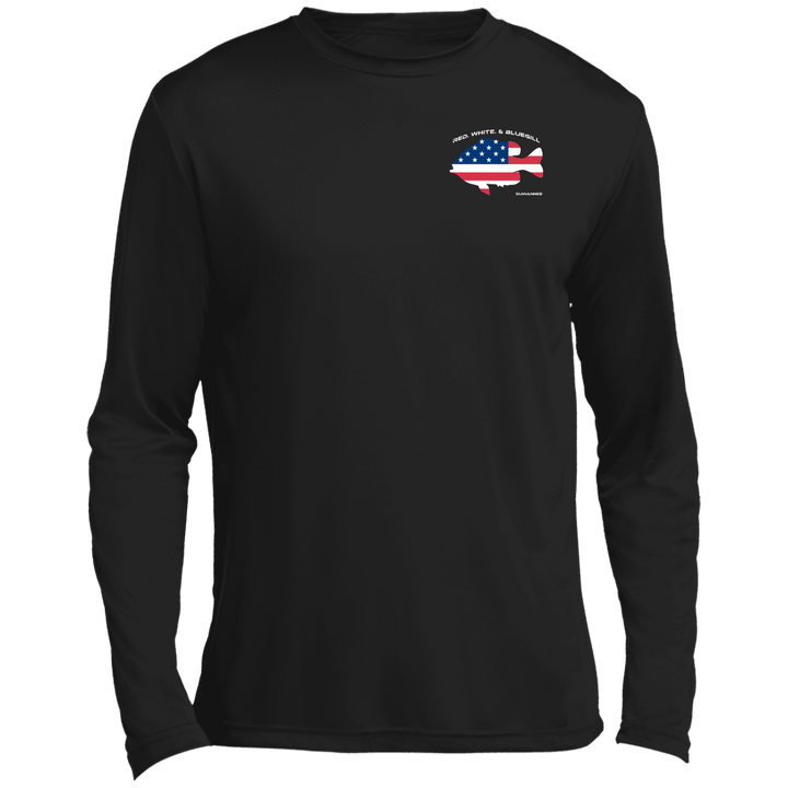Red White & Bluegill - Mens Performance Flag Tshirt - LS - Suwannee™