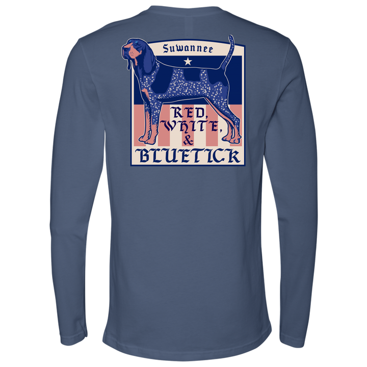 mens unisex long sleeve tshirt with blue tick hound with stars as spots with slogan as red, white, & bluetick - suwannee brand apparel