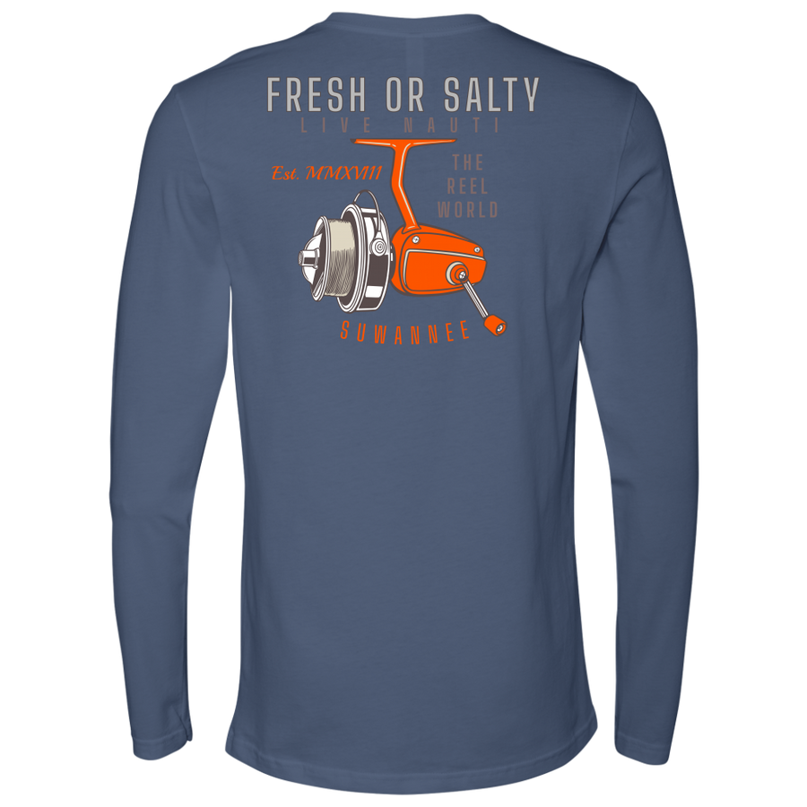 "Suwannee Brand Sportswear Apparel - Mens Long Sleeve Tshirt - Fishing Reel Image Logo on Back with slogan ""Fresh or Salty, Live Nauti"" & ""The Reel World"""