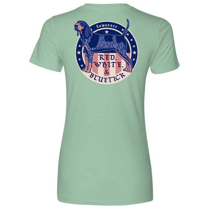 Red White & Bluetick 02 - Womens Flag Tshirt - SS - Suwannee™