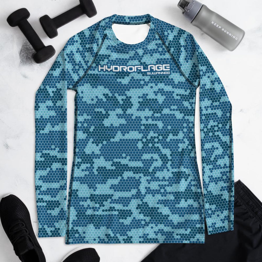 Storm Cloud Water Camo - Womens Performance UPF Fitted Tshirt - LS - Suwannee™