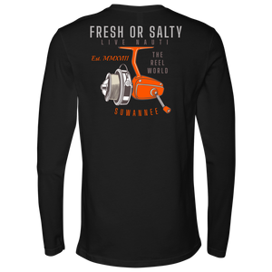 "Suwannee Brand Sportswear Apparel - Mens Long Sleeve Tshirt - Fishing Reel Image Logo on Back with slogan ""Fresh or Salty, Live Nauti"", ""The Reel World"""