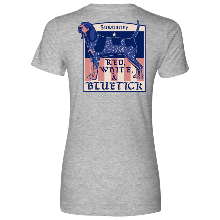 Red White & Bluetick 01 - Womens Flag Tshirt - SS - Suwannee™
